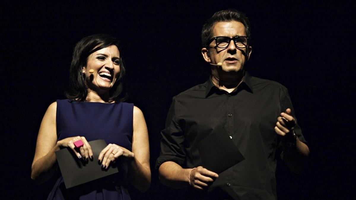 Silvia Abril y Andreu Buenafuente, en la presentación de un concierto benéfico en Barcelona.