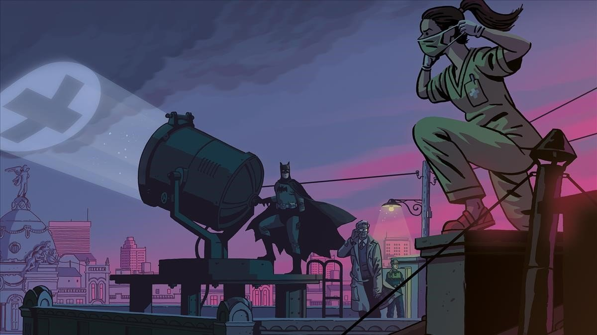 Ilustración de Paco Roca con Batman, en homenaje a los héroes anónimos del covid-19.