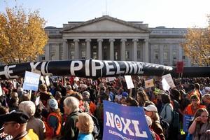 Manifestació contra de loleoducte Keystone XL, el 6 de novembre a Washington.
