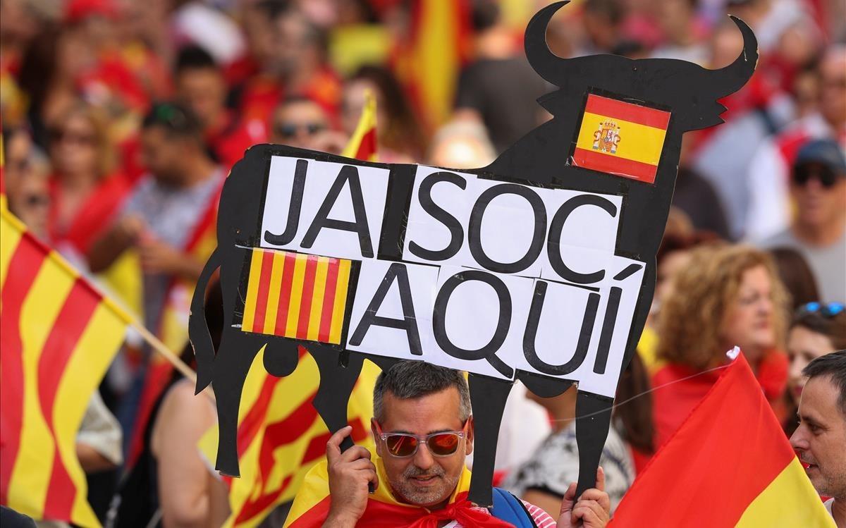 Imágnes de la marcha de los no Independentista