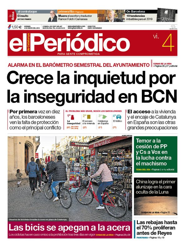 Portada de EL PERIÓDICO del viernes 4 de enero del 2019.