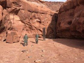 El monolito hallado en el desierto de Utah.
