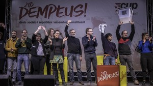 Acto central de campaña de la CUP, este domingo en el pabellón de la Vall d'Hebron de Barcelona.