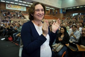 Ada Colau, el 8 de abril, en la asamblea fundacional de Un País en Comú.
