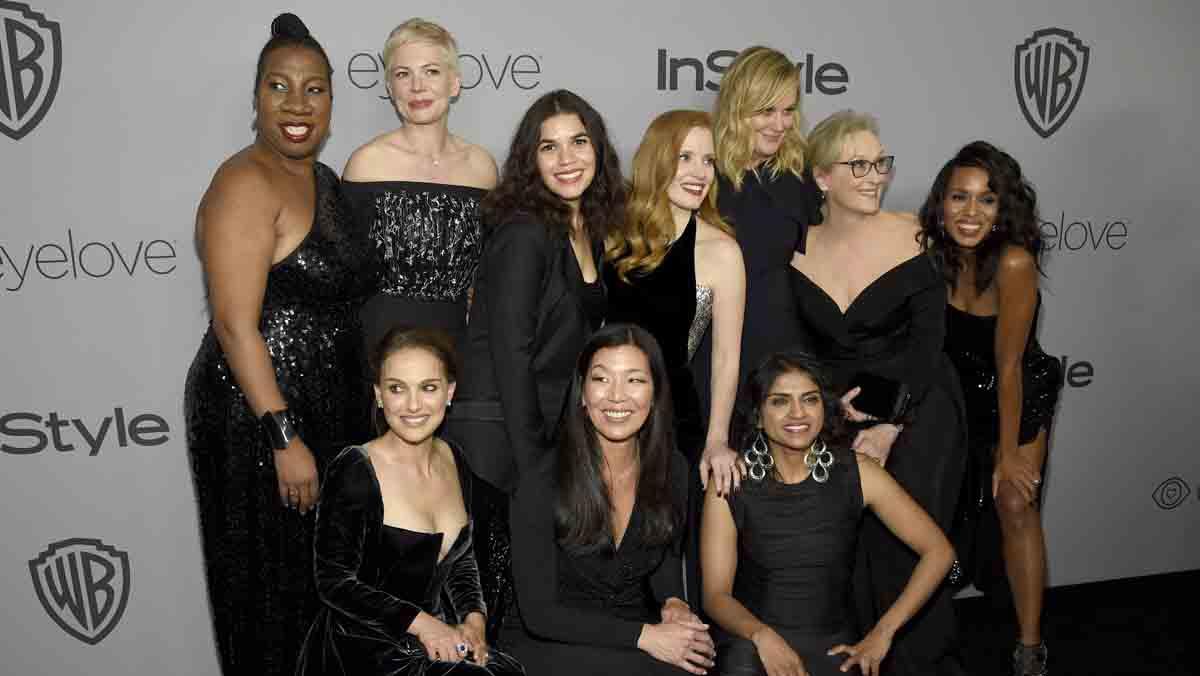 La alfombra roja de los Globos de Oro se tiñó por completo de negro, reflejo del movimiento Me Too, cuyo objetivo es denunciar el acoso sexual a las mujeres en Hollywood.