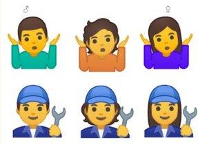 Arriba, emoji de dudao resginación. A la izquierda un hombre, a la derecha, una mujer y en el centro, el de género ambiguo. Debajo, lo mismo con fontaneros.