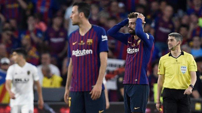El Barça se ha visto superado por el Valencia en la primera mitad.
