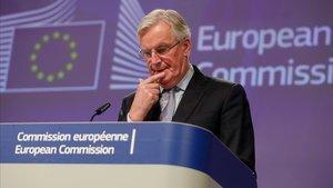 Barnier, durante la rueda de prensa tras la reunión con la delegación británica.