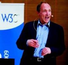 Berners-Lee, el viernes, impartiendo una conferencia en Ginebra.