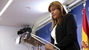 La diputada de JxCat Laura Borràs en una rueda de prensa en el Congreso, este 17 de septiembre