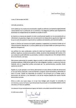 Carta del presidente de la Cámara de España.