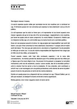 La carta de despedida de Esquius a los Mossos