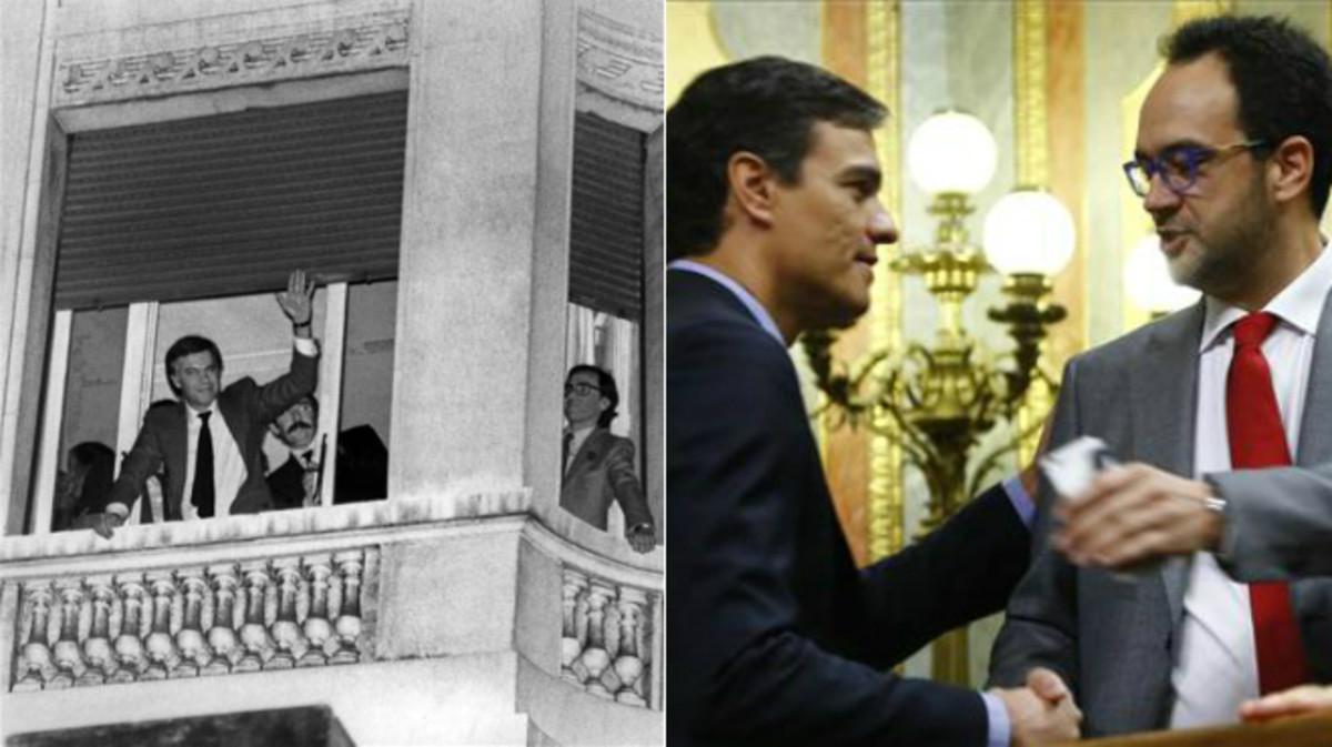 A la izquierda, Felipe González y Alfonso Guerra, el 28 de octubre de 1982. A la derecha, Pedro Sánchez y Antonio Hernando, el pasado jueves.