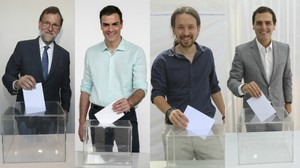 Mariano Rajoy, Pedro Sánchez, Pablo Iglesias y Albert Rivera posan para EL PERIÓDICO.