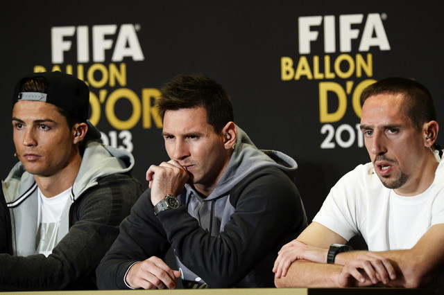 Cristiano, Messi y Ribéry.