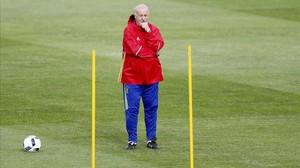 Del Bosque, en un entrenamiento de la selección española.