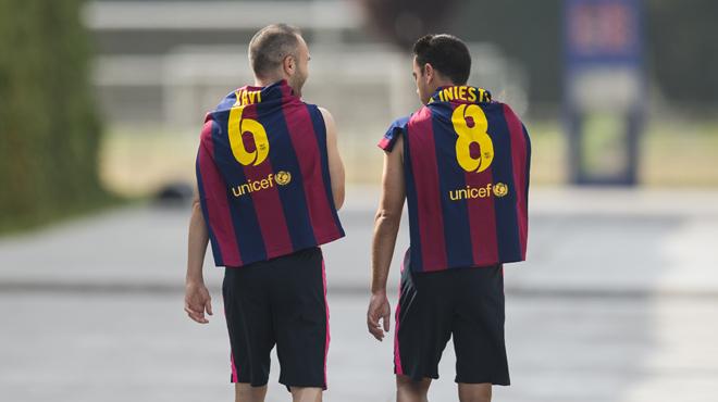 Una conversación entre los dos campeones del Barça.