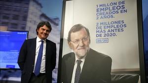 El director de campanya del PP, Jorge Moragas, en la presentació dels lemes, lespot i els cartells dels conservadors de cara a les eleccions generals.