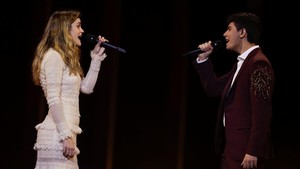 Amaia y Alfred, durante uno de los ensayos de Eurovisión, esta semana en Lisboa.