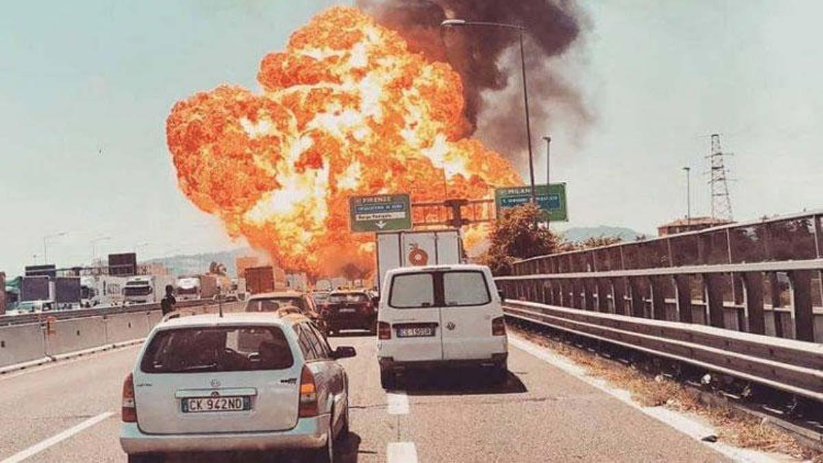 Explosión en una carretera cerca del aeropuerto de Bolonia.
