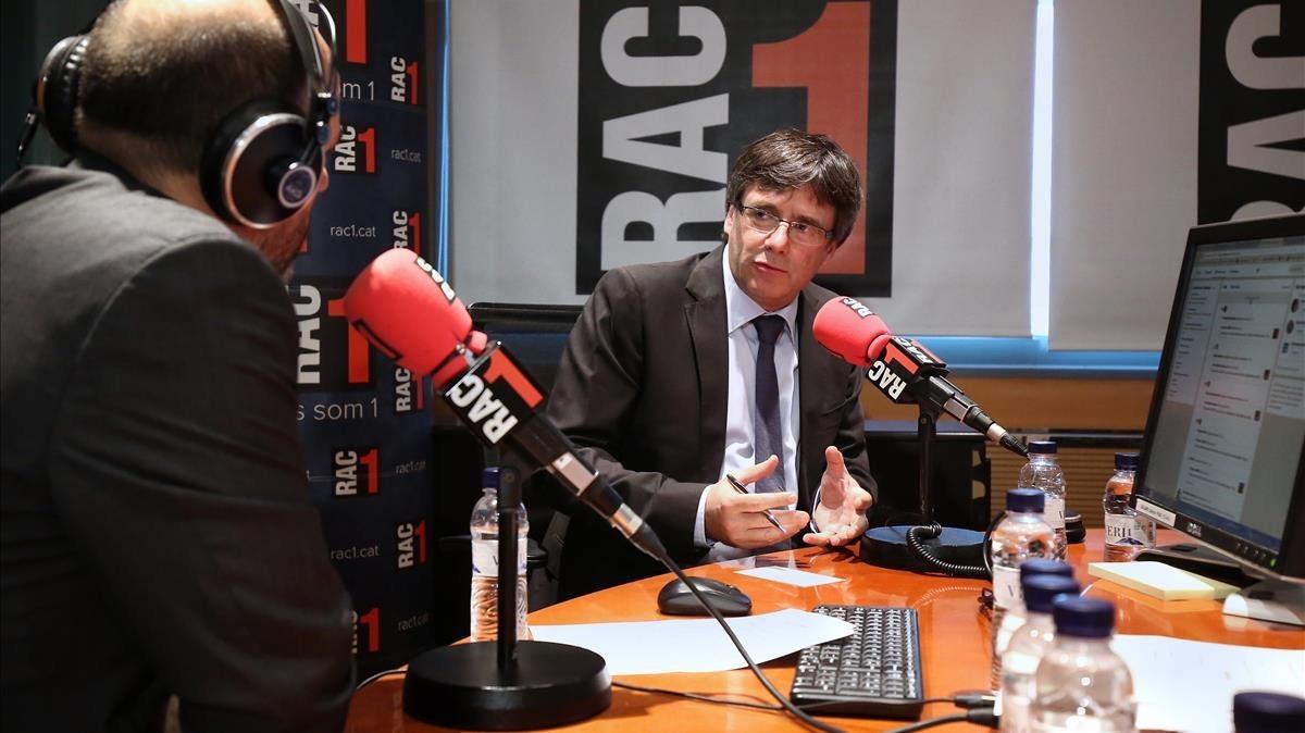 El 'expresident' Puigdemont, en un programa deradio de RAC1.