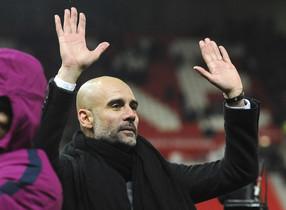 Pep Guardiola, durante un partido con el City.