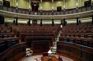 El hemiciclo del Congreso, vacío, una vez que los diputados han abandonado sus escaños