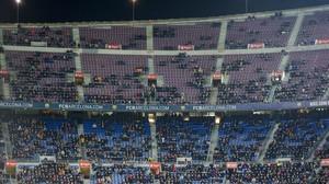 Imagen de la grada del Camp Nou en el partido de Copa ante el Celta del jueves 11 de enero.