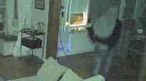 Un ladron, en una vivienda de Sant Cugat, captado por una cámara de seguridad.