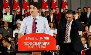 Justin Trudeau, primer ministro canadiense, durante un minin.
