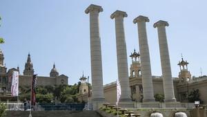 Las columnas reconstruidas en el 2010.