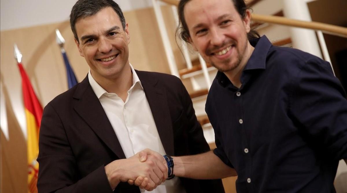 Pedro Sánchez y Pablo Iglesias, en una de las reuniones durente la legislatura fallida.