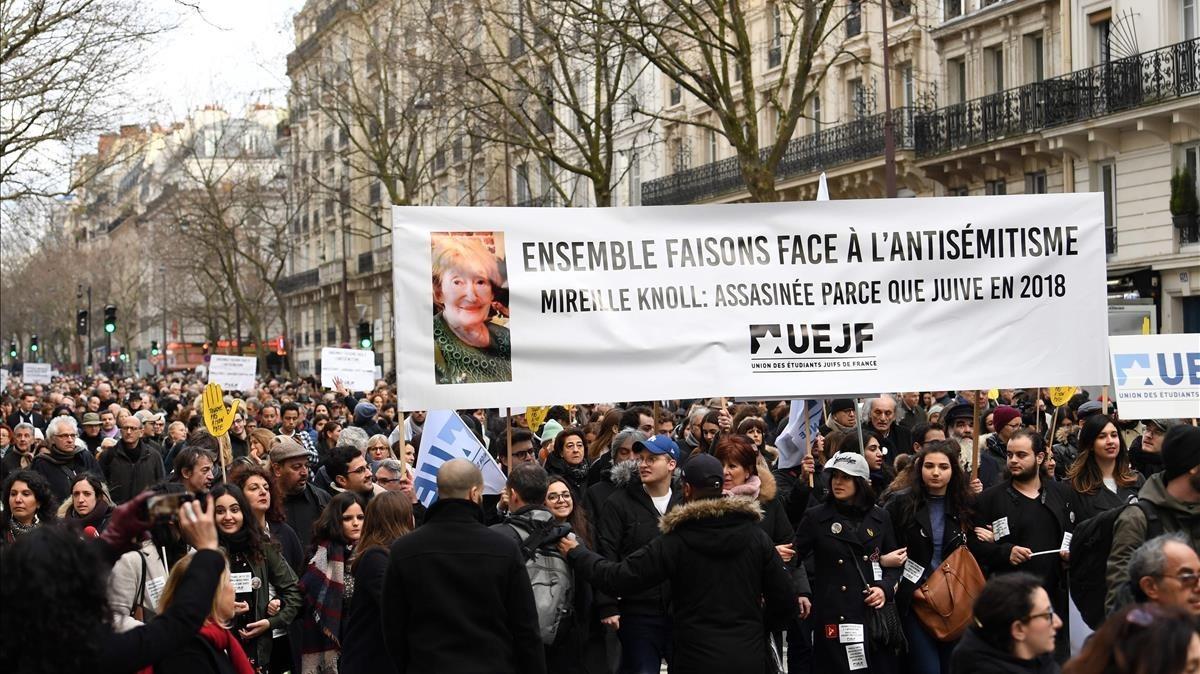 La marcha contra el antisemitismo celebrada en París.