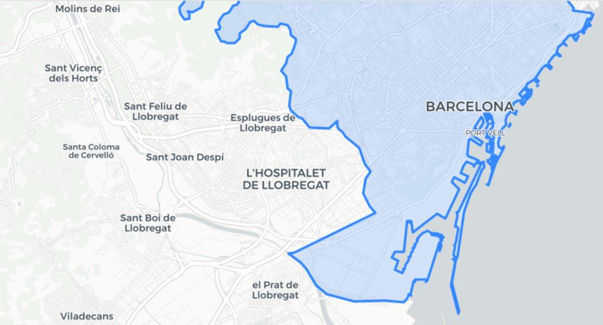 Mapa de la ciudad deBarcelona.