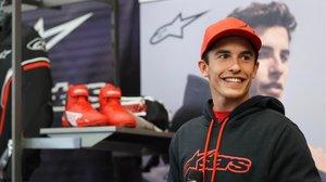 Marc Márquez, hoy, en Le Mans, en la presentación de su MM93 Collection, ropa para motoristas.