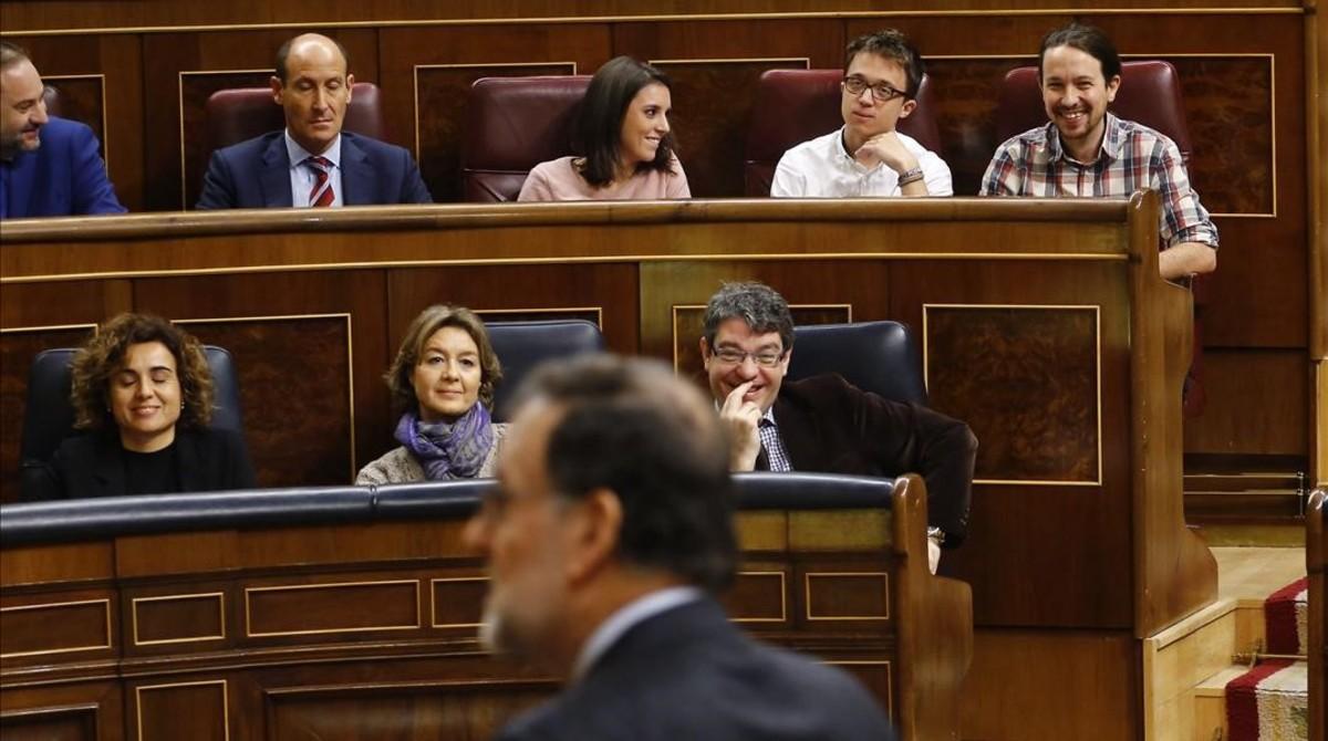 Mariano Rajoy se dirige al Congreso, este miércoles durante la sesión de control al Gobierno.