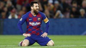 Messi, durante un partido de la Champions League contra el Slavia de Praga