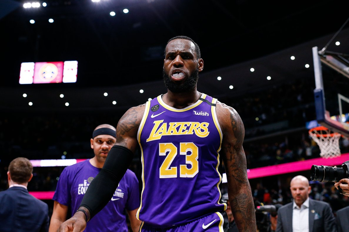 Feb 12, 2020; Denver, Colorado, USA; Los Angeles Lakers forward LeBron James (23) walks off the court after a game against the Denver Nuggets at the Pepsi Center. Mandatory Credit: Isaiah J. Downing-USA TODAY Sports