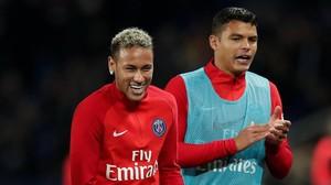 Neymar y Thiago Silva, en un entrenamiento del PSG.
