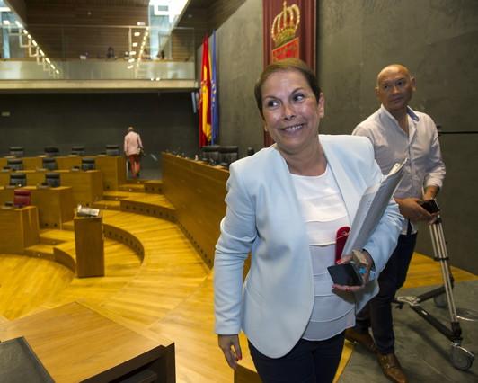 La presidenta de Navarra, Uxue Barkos, en la Cámara foral.