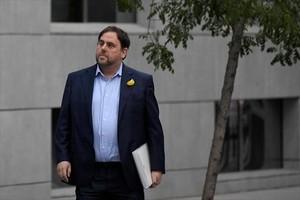 Oriol Junqueras acude a declarar a la Audiencia Nacional, el pasado 2 de noviembre, poco antes de ser encarcelado por orden judicial.