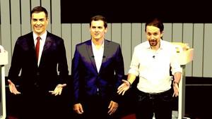 Pedro Sánchez, Albert Rivera y Pablo Iglesias, en junio del 2016, en un debate electoral de campaña.