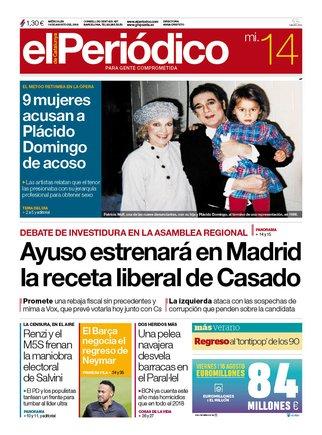 La portada de EL PERIÓDICO del 14 de agosto del 2019