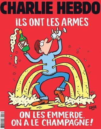 Portadade la revista satírica Charlie Hebdo que se publicará este viernes. En ella se puede leer el lema: Ellos tienen armas. Que se jodan, nosotros tenemos champán junto a un dibujo realizado por la dibujante Coco.