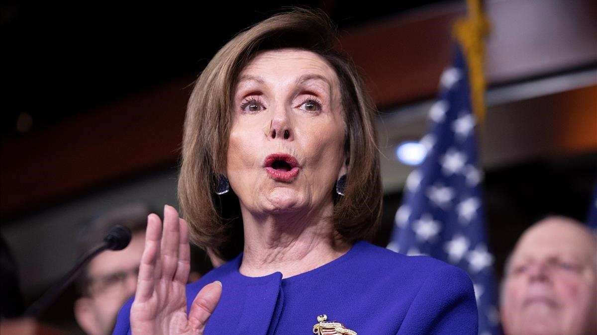 La presidenta de la Cámara de Representantes, Nancy Pelosi, durante el anuncio del acuerdo comercial entre EEUU, Canadá y México.