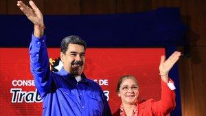 El presidente de Venezuela, Nicolás Maduro, en un acto en el palacio de Miraflores el día 19 de febrero.