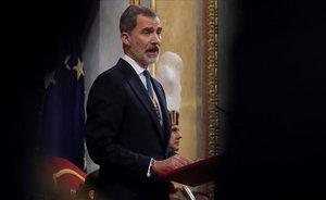 El rey Felipe VI en el discurso de apertura de la XIV legislatura en el Congreso.