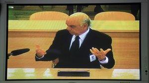 Fotografía del monitor de la Audiencia Nacional mientras declaraba el expresidente del BBVA, Francisco González, como testigo en el caso Bankia.