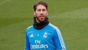 Ramos, en un entrenamiento del Madrid.