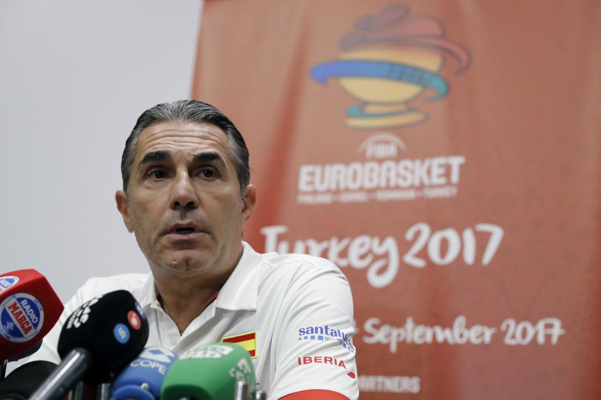 Sergio Scariolo, en rueda de prensa en el Eurobasket